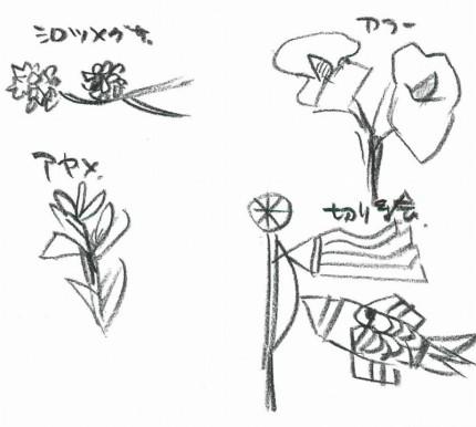 シロツメグサやアヤメのイラスト