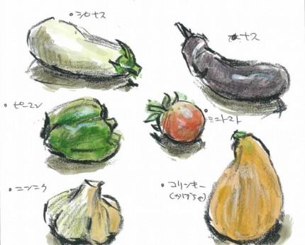 はがき絵教室で描いた色々な野菜