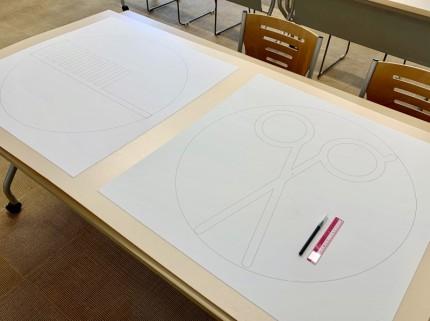 パネルへ貼付けて切り出し、型紙を作成1